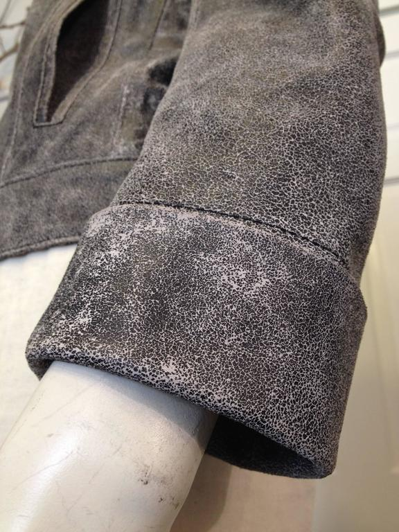 Ann Demeulemeester Grey Distressed Leather Jacket For Sale 2