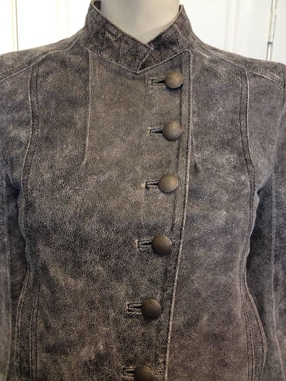 Women's Ann Demeulemeester Grey Distressed Leather Jacket For Sale