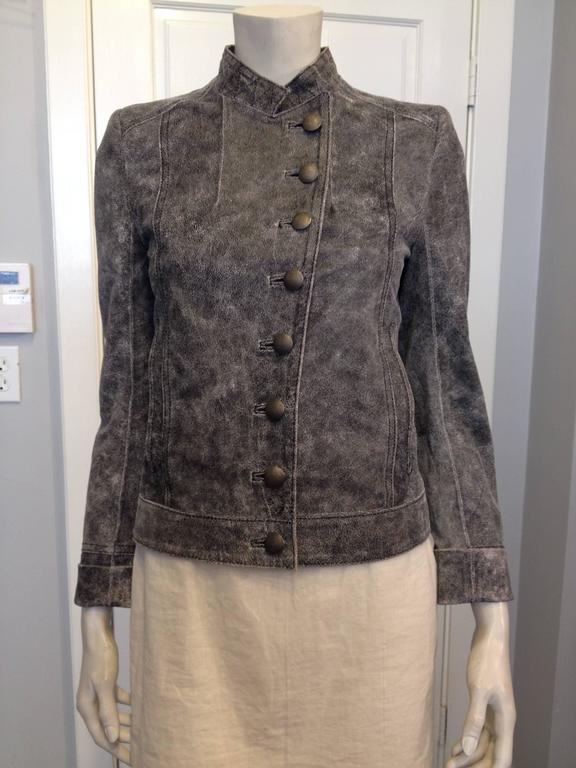 Ann Demeulemeester Grey Distressed Leather Jacket In Excellent Condition For Sale In San Francisco, CA