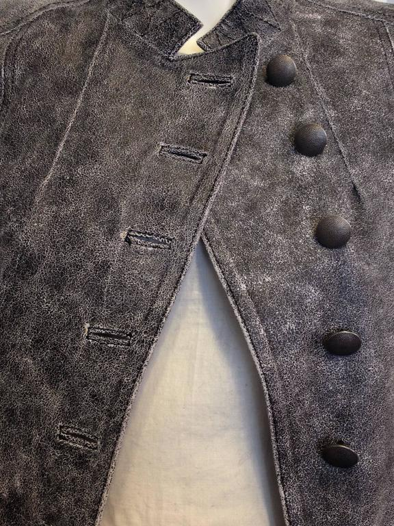 Ann Demeulemeester Grey Distressed Leather Jacket For Sale 1