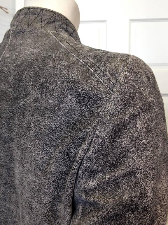 Ann Demeulemeester Grey Distressed Leather Jacket For Sale 3