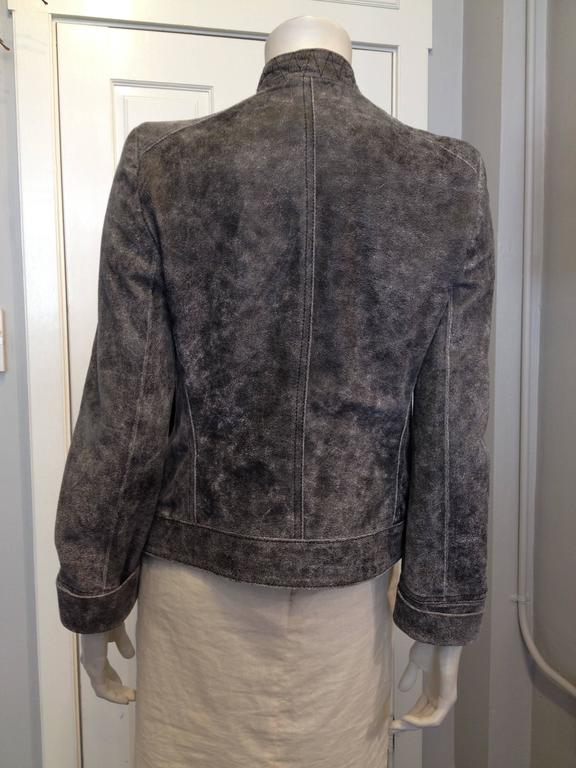 Black Ann Demeulemeester Grey Distressed Leather Jacket For Sale