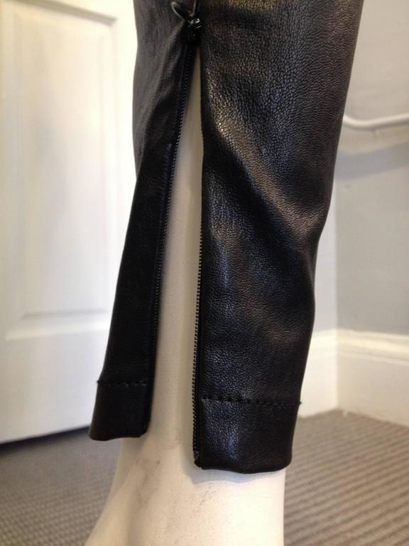 Givenchy Black Leather Pants Size 38 (6) For Sale 2