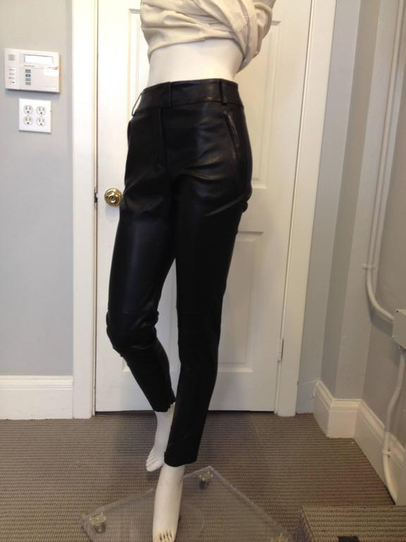 Givenchy Black Leather Pants Size 38 (6) 2