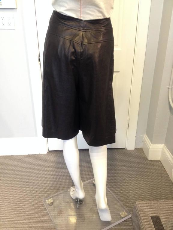 Chanel Black Leather Culottes Size 42 (10) 3