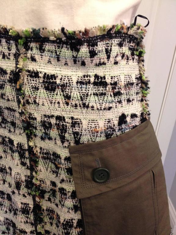Louis Vuitton Cream and Olive Tweed Skirt Size 38 (6) 4