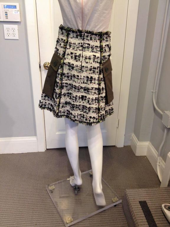 Louis Vuitton Cream and Olive Tweed Skirt Size 38 (6) 3