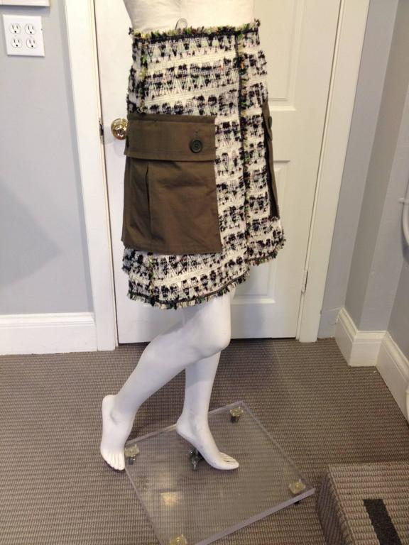 Louis Vuitton Cream and Olive Tweed Skirt Size 38 (6) 2