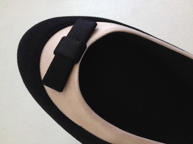 Giuseppe Zanotti Black and Pink Satin Ballerina Flats Size 38 (7.5) 4