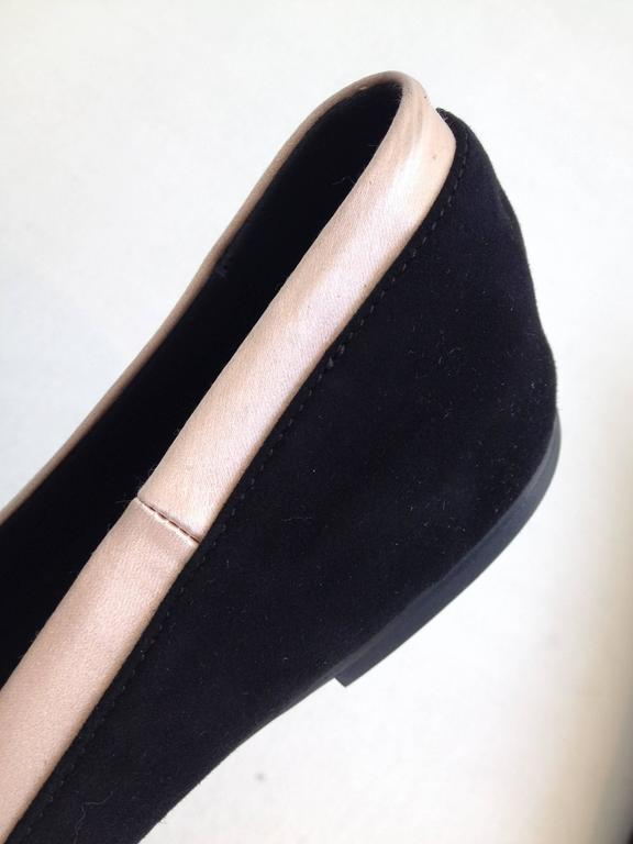 Giuseppe Zanotti Black and Pink Satin Ballerina Flats Size 38 (7.5) For Sale 1