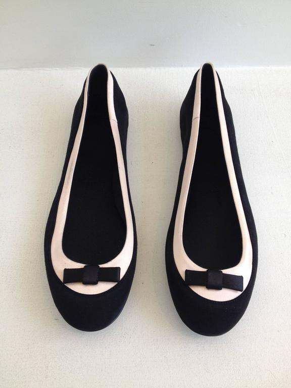 Giuseppe Zanotti Black and Pink Satin Ballerina Flats Size 38 (7.5) 2