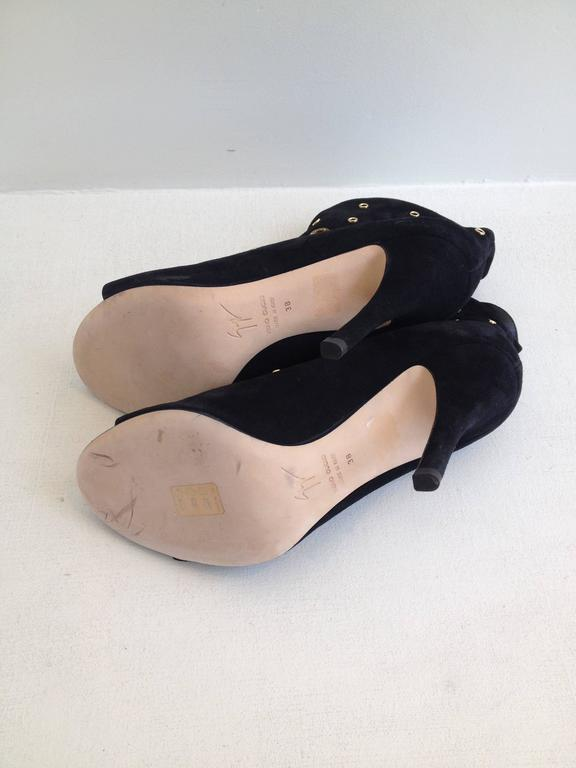 Giuseppe Zanotti Black Suede Peeptoe Bootie Size 38 (7.5) 7