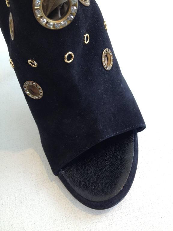 Giuseppe Zanotti Black Suede Peeptoe Bootie Size 38 (7.5) 5