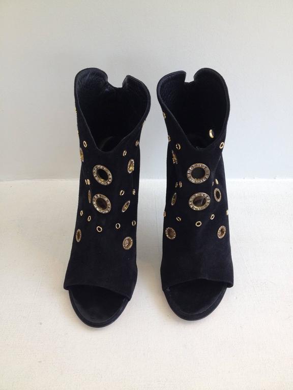 Giuseppe Zanotti Black Suede Peeptoe Bootie Size 38 (7.5) 2
