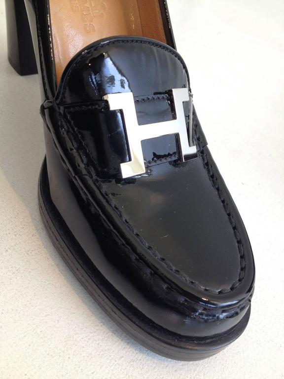 Hermes Black Patent Heeled Loafers At 1stdibs