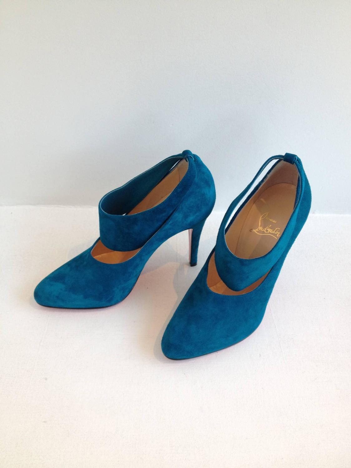 Christian Louboutin Peacock Blue Suede Heels At 1stdibs
