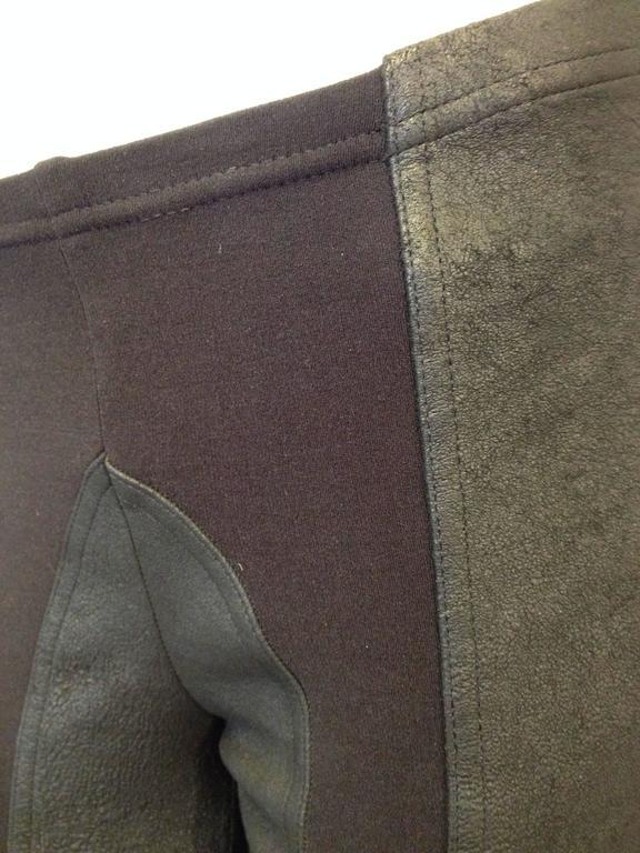 Rick Owens Black Leather Leggings Size 6 7