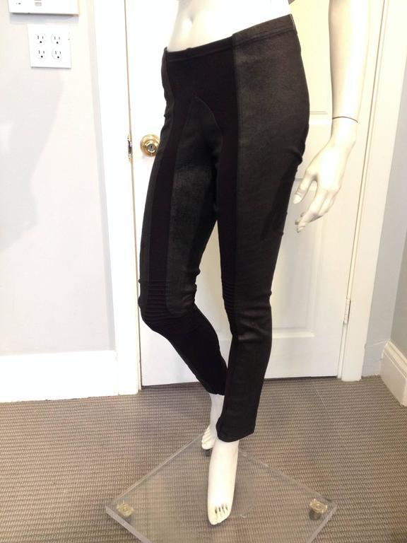 Rick Owens Black Leather Leggings Size 6 2