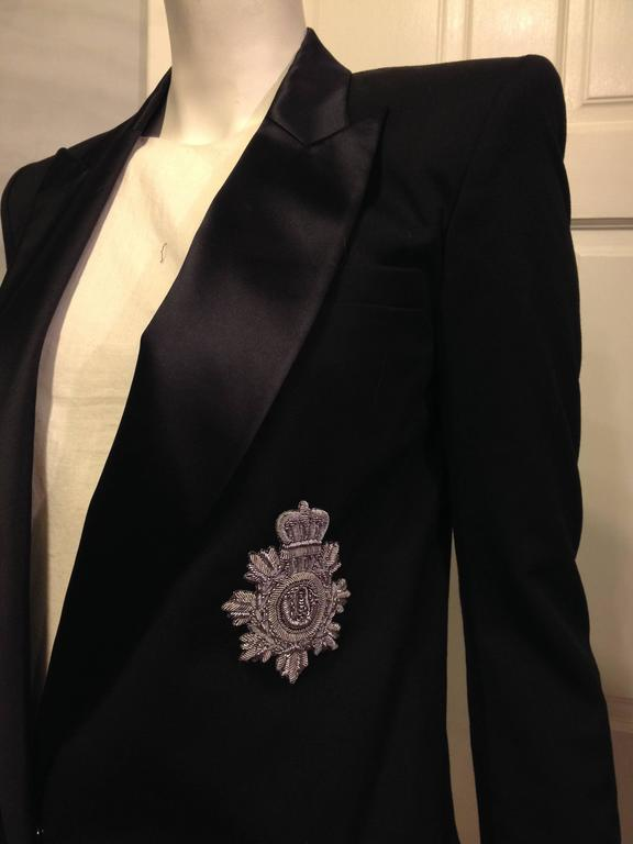 Balmain Black Tuxedo Jacket with Silver Crest Size 36 (4) 5