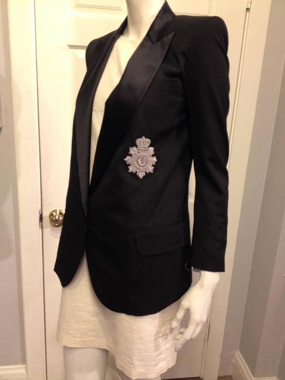 Balmain Black Tuxedo Jacket with Silver Crest Size 36 (4) 2