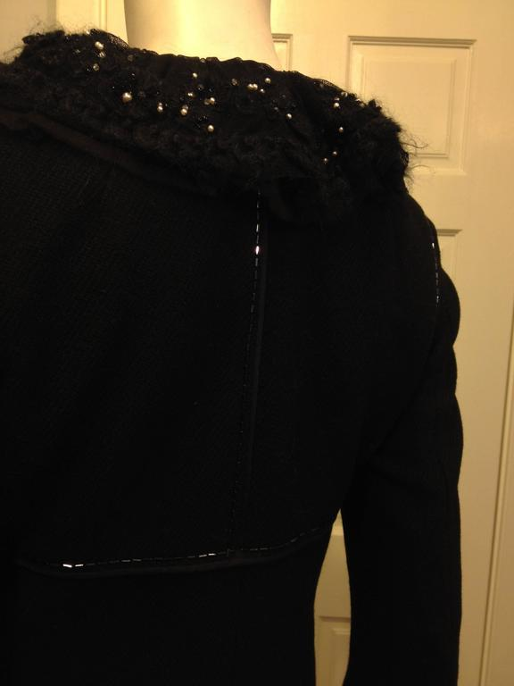 Louis Vuitton Black Wool Coat with Lace Collar 6