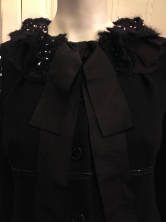 Louis Vuitton Black Wool Coat with Lace Collar 4