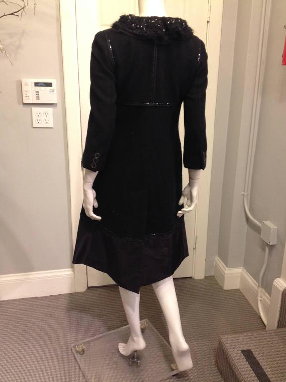 Louis Vuitton Black Wool Coat with Lace Collar 3