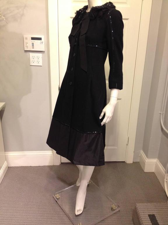 Louis Vuitton Black Wool Coat with Lace Collar 2