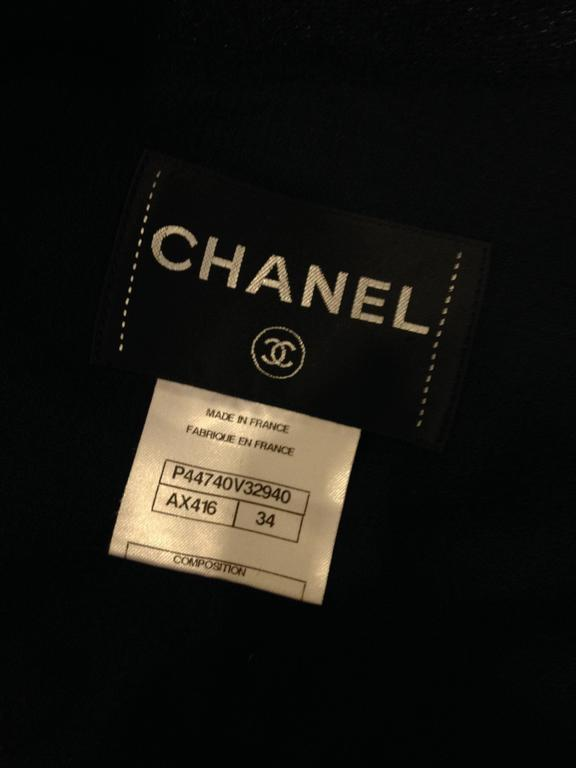 Chanel Navy Sparkly Jacket Size 34 (2) For Sale 4