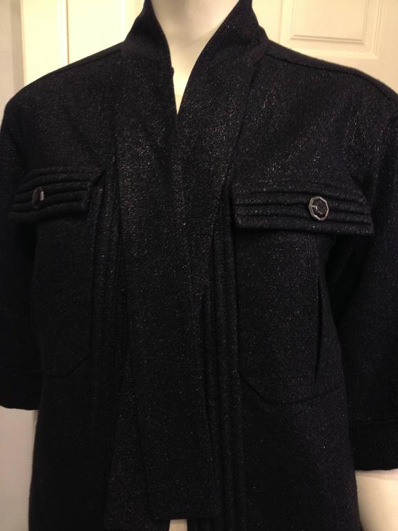 Chanel Navy Sparkly Jacket Size 34 (2) In Excellent Condition For Sale In San Francisco, CA