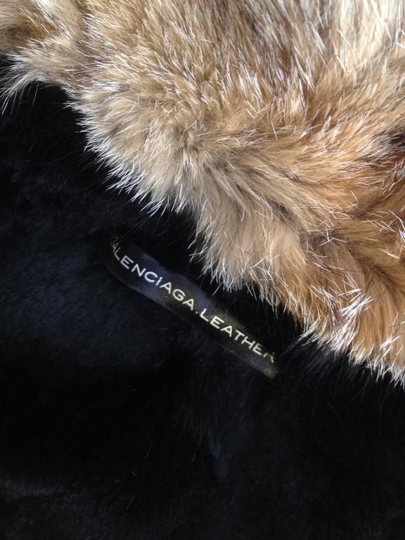 Balenciaga Brown Suede Coat with Fur Trim For Sale 2