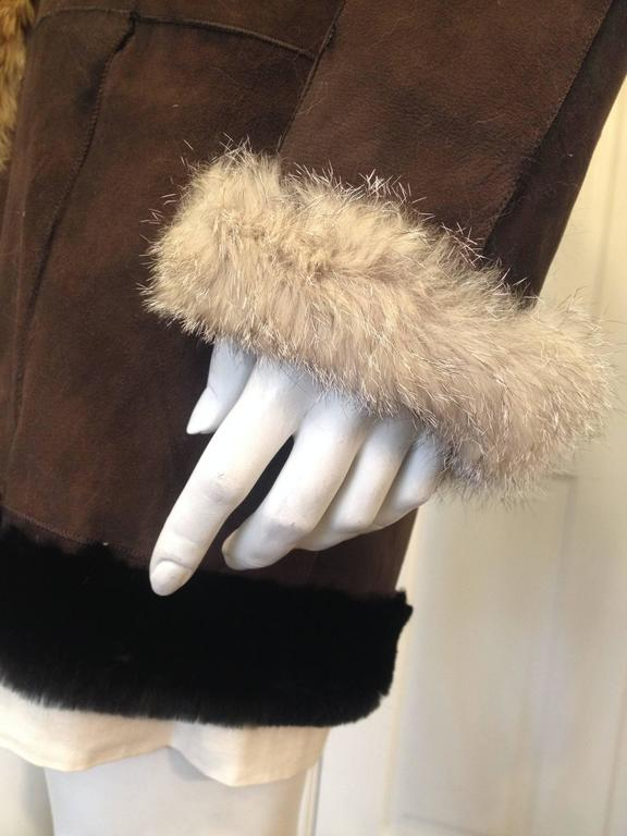 Balenciaga Brown Suede Coat with Fur Trim For Sale 1