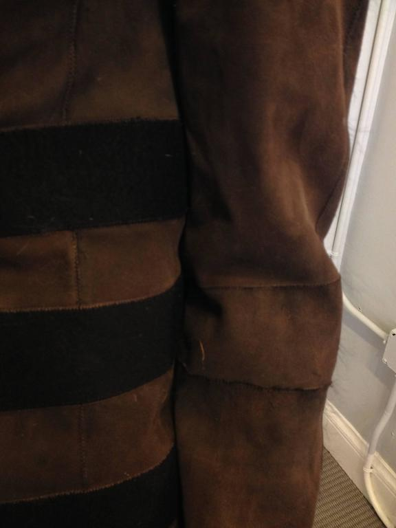 Women's Balenciaga Brown Suede Coat with Fur Trim For Sale