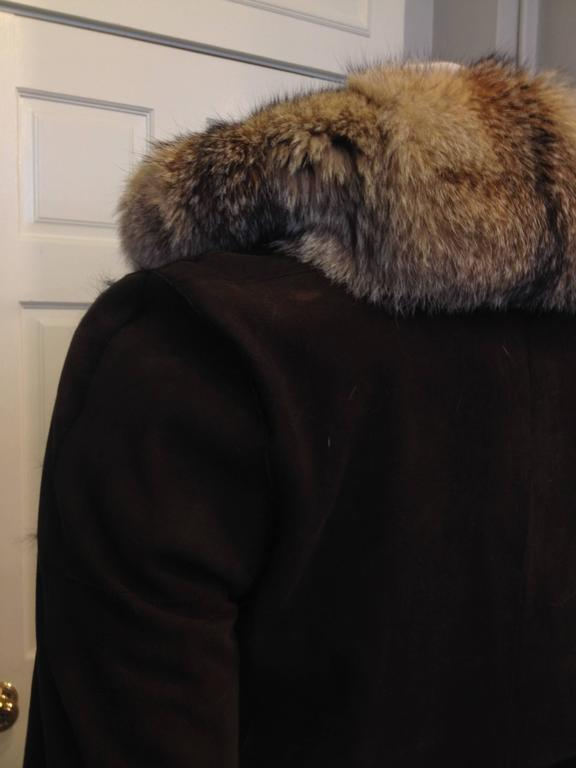 Balenciaga Brown Suede Coat with Fur Trim In Excellent Condition For Sale In San Francisco, CA