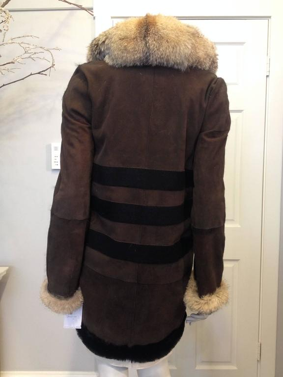 Black Balenciaga Brown Suede Coat with Fur Trim For Sale
