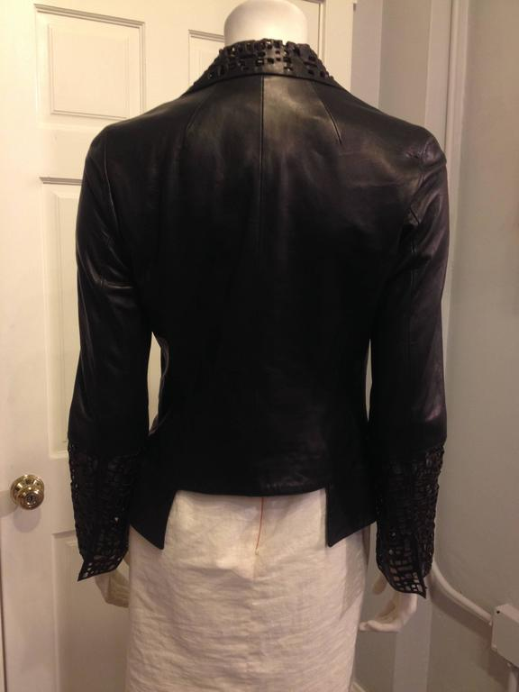 Chanel Black Leather Cutout Jacket 3