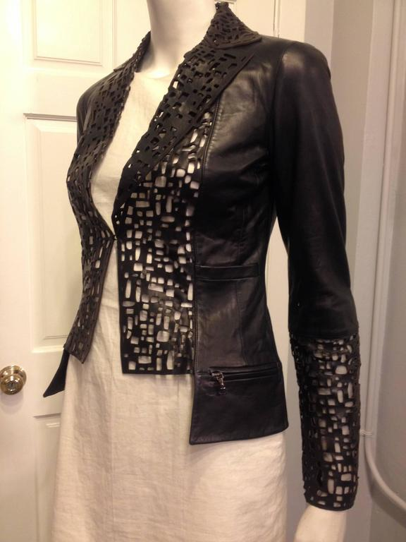 Chanel Black Leather Cutout Jacket 2
