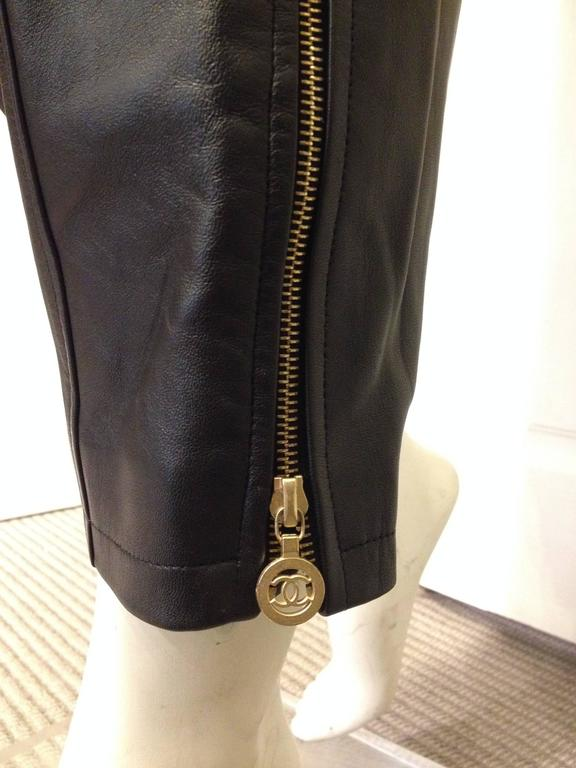 Chanel Black Leather High Waist Pants 5