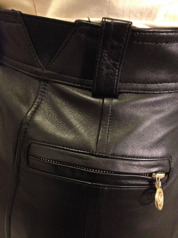 Chanel Black Leather High Waist Pants 4