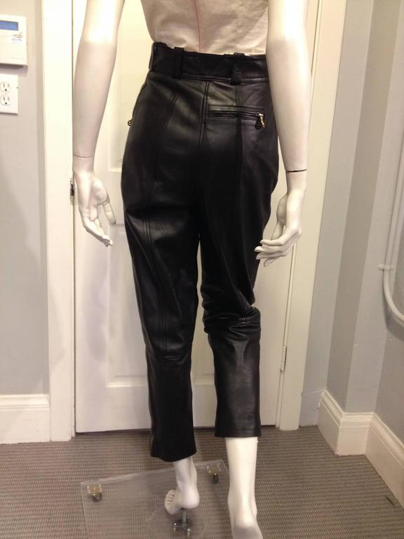 Chanel Black Leather High Waist Pants 3
