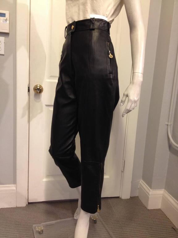 Chanel Black Leather High Waist Pants 2