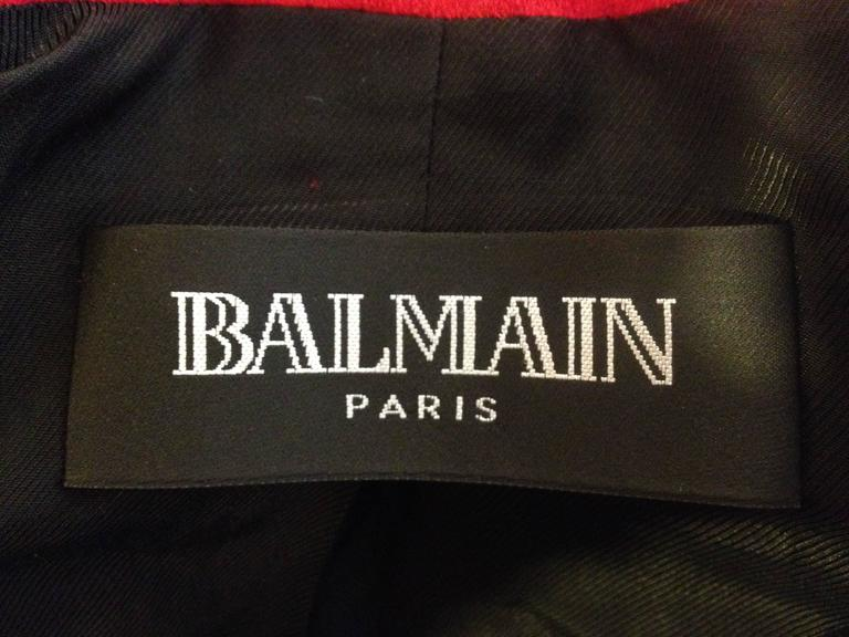 Balmain Red Suede Blazer For Sale 5