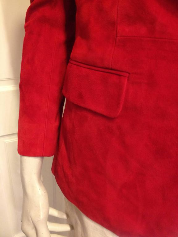 Balmain Red Suede Blazer For Sale 1