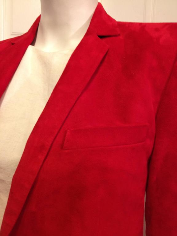 Women's Balmain Red Suede Blazer For Sale