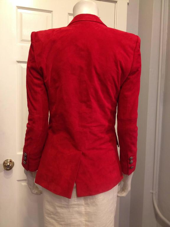 Balmain Red Suede Blazer In Excellent Condition For Sale In San Francisco, CA