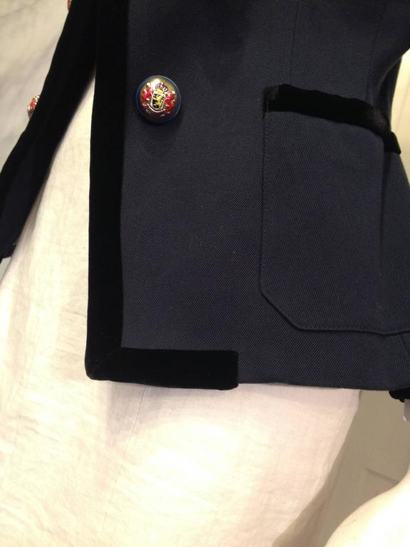 Balenciaga Navy Blazer with Gold Crest 8