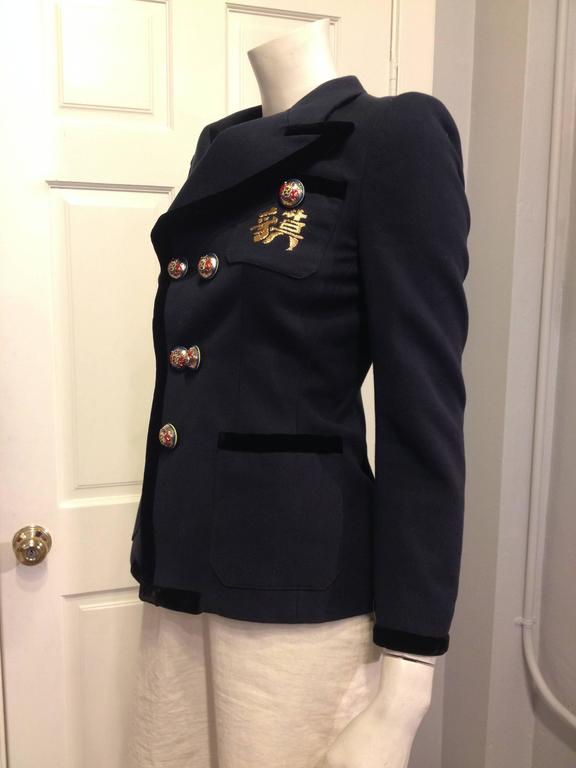 Balenciaga Navy Blazer with Gold Crest 2