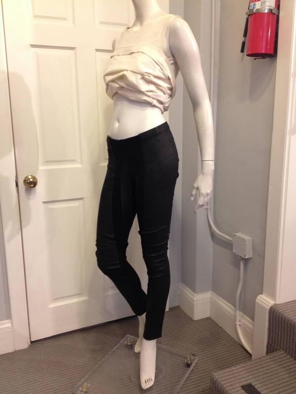 Rick Owens Black Leather Leggings 2