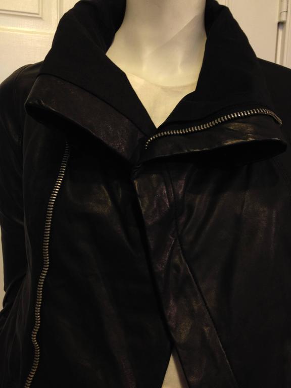Rick Owens Black Leather Jacket 4