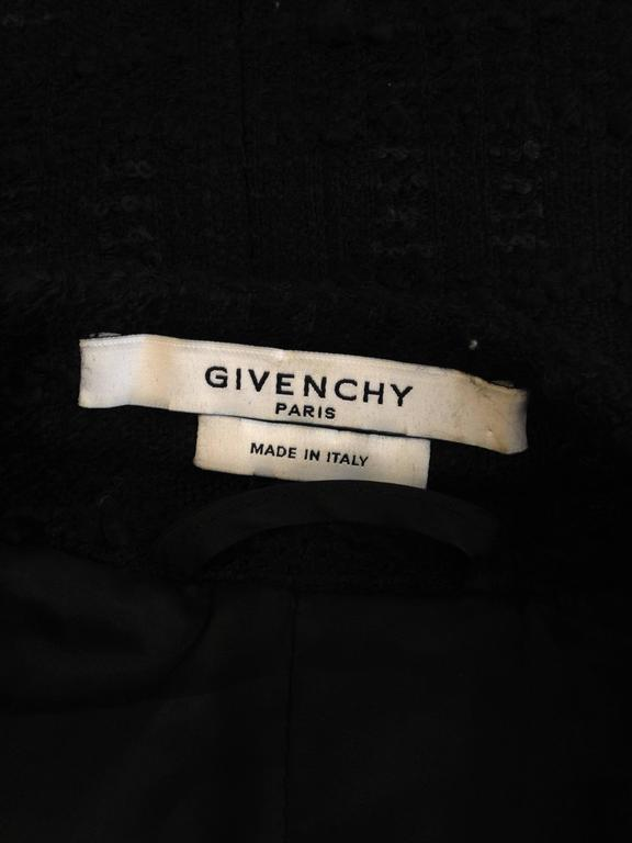 Givenchy Black Tweed Jacket with Leather Sleeves 10